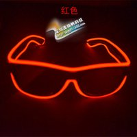 Wholesale HOT Fashion EL Led glasses as Wedding Christmas Holiday Rave Costume Party Gift Bule Green Yellow Pink Red Purple Light