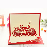 bicycle greeting cards - Bicycle Red Handmade D Pop UP Birthday Greeting Cards set of