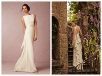 Cheap Perfect Design Bohemian Summer Beach Wedding Dresses 2015 Bateau Backless Ruffles Chiffon Floor Length Grecian Style Garden Bridal Gowns DH6