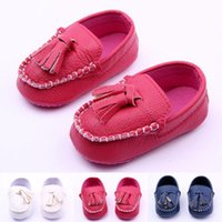 Wholesale Baby Girl Moccasins Princess First Walker Shoes Infant Leather Prewalker Toddler Antiskid Tassel Party Shoe Children Pageant Footwear YW S05
