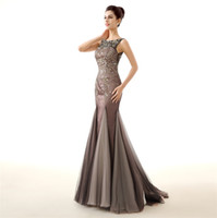 Wholesale 2015 New Arrival Charming Evening Dresses Real Image Jewel Neck Tiered Tulle Floor Length with Crystal Beaded Long Formal Pageant Gowns MBA