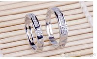 Wholesale Hot Sale Silver Love couple rings Intertwined Opening Adjustable Silver Plated Rhinestone Couple Ring for lover men women Fashion