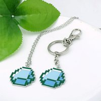 Wholesale 2015 Hot Selling minecraft Jewelry set My world Blue strange coolie cooly afraid Pendant Necklace and key Chain
