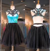aqua homecoming dresses - Aqua Black Short Prom Party Dresses Tulle Beading Girl Homecoming Dresses Open Backless Formal Pageant Wear