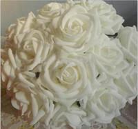 Wholesale 2015 New cm Elegant PE Rose Artificial Flower For Wedding DIY Bouquet Bulk Rose Car Decorations DIY Rose Balls Garland Home Ornament