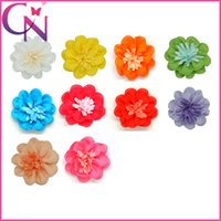 Cheap Hot Sale 40Pcs lot Grosgrain Ribbon Hair Flower Beautiful Flower Hairbow For Girls Handmade Flower Hair Accessories With Clip CNHBW-1307072
