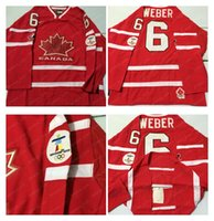 Cheap Mens #6 Weber Red 2010 Canada Team Vancouver Winter Olympic Hockey Jerseys Ice International Sports Stitched Premier Authentic Sports Cheap