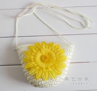 beach bag straw - Fashion Cute Wheat Straw Mini Bags With Zipper Crochet Knitting Nature Beach Bags Candy Colors Handbags Women Children Case Gift F078