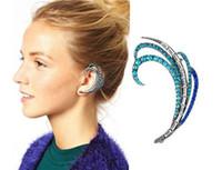 Wholesale Gold Silver New Fashion Peacock Feathers Crystal Rhinestone Stud Earring Stud Ear Cuff For Women Stocks