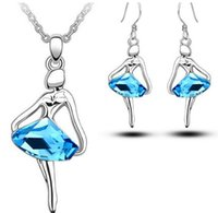 ballet sets - Ballet dancing girl crystal necklace earrings set