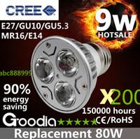 Wholesale 200pcs CREE W led bulb light E27 GU140 GU5 MR16 E14 DC12V Security Spotlight Bulb Warm white Cool white