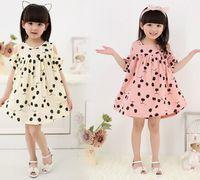 short strapless dress - Children Dress Girl Printed Dress Girl Strapless Dress Girl Short Sleeve Cotton Skirts Dress G80F4