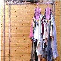 Wholesale Practical Folding Wardrobes Closet Organizer Plastic Clothes Hook Rack Folding Magic Clothes Hanger Space Saving DP677937