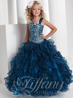 kids gown - Hot Sparkling Crystals Sequins Girls Pageant Dresses One Shoulder Kids Ruffles Organza Flower Girl Ball Gowns For Wedding High Quality
