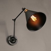 Wholesale Return To The Ancients Collapsible Wall Lamp Black Wall Lamp Iron Art Wall Light American Country Style Bedroom Loft Wall Light