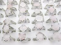 Wholesale Bulk Pink Amethyst Crystal Opal Gemstone stone silver P Rings Jewelry Free