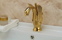 automatic faucet - Cloud Power Basin and Automatic Faucets with Copper Antique Gold Swan Bathroom Mixer Taps For