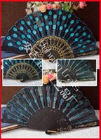 white hand fans - 100pcs Polyester Fabric Plastic Fan Dance Fan Embroidery Peacock Fan with Sequins Black plastic frame cloth fan