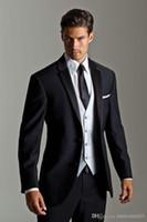 Wholesale Top Selling New Black Jacket With White Satin Vest Lapel Groom Tuxedos Groomsmen Best Man Suit Men Wedding Suits