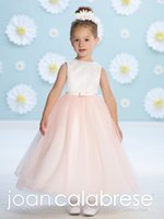 band christmas lights - JOAN CALABRESE Junior Bridesmaid Dresses Bow Band Blush Wedding Flower Girls Dress Cheap Beading Tulle Girls Party Gown