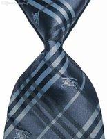 Wholesale Designer Brand New Classic Plaid Tie Letter Checks Silver Gray White Black JACQUARD WOVEN Silk Fashion Men s Tie Necktie