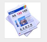 Impresoras de inyección de tinta gratis Baratos-Envío libre expreso de 100 hojas de papel de inyección de tinta de alta A6 180g brillante impermeable papel fotográfico Para una variedad de impresoras de inyección de tinta