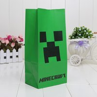 environmental paper - Minecraft Popcorn Paper Pack bags green Environmental protection Cinema Candy Cookie Container Party Favors Package inchX9 inch