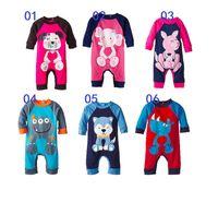 30pcs 6 colores embroma los animales mamelucos impresos mono de Bodies ropa de algodón bebé mameluco de la historieta del mameluco del traje traje de navidad