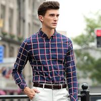 designer clothes for men - Casual Shirts Men XL Plaid Designer Brand Slim Fit Man Shirts Long Sleeve Cotton Broadcloth Shirts For Mens Clothes