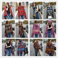 wholesale cashmere scarves - Fashion Ladies bohemian scarves oversized scarf Lady thick Hooded Cape Bohemian shawls scarves for women wool spinning Hooded scarf LA151