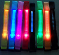 Wholesale 200ocs HOT colors Led luminous belt fiber optic luminous hand ring luminous strap led flash bracelet Cycling Safety Bracelets Lights D584