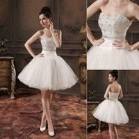 Cheap Luxury Beaded Short Ball Gown Wedding Dresses 2015 Vintage Corset and Tulle Real Model Pictures Chic Sweetheart Bridal Rehearsal Toast Gowns