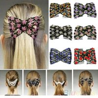 achat en gros de glass flower hair clip-Chic extensible Fleur Rose Bow Glass Bead Head Peigne Cuff Double Insert Clips 1SQK