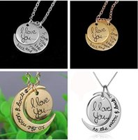 ali necklace - 600PCS I love you to the moon and back Necklace Round Alex Ali Pendant Moon Necklace Christmas Gift Chain Sun and Moon Necklace