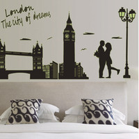 Wholesale 2014 novelty households London wall sticker glow in the dark decorative wallpaper adhesive