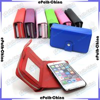 Wholesale Portable In Zipper Lady Wallet Leather Purse With Flip Magnet Removable Case Cover For iPhone Plus S