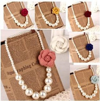 Wholesale 2014 New Arrival Children s Fashionable Necklace Girls White Round Pearls Nacklace Decorated with Camellia Flower