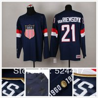Cheap stitched 2014 Olympic Team USA 21 James VanRiemsoyk Jersey Sochi Winter olympic Ice Hockey Jersey Blue white