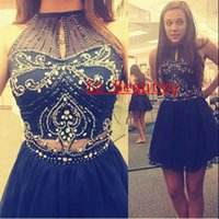 Wholesale Sparkling Crystal Royal Blue Short Prom Homecoming Dresses Gown Keyhole Neck Puffy A Line Sleeveless th Grade Dress Graduation Gown