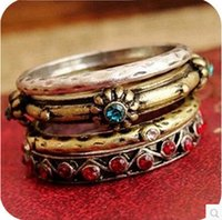 Wholesale Trendy Set CM Alloy Vintage Red Crystal Gothic Flower Ring For Women Fashion Jewelry
