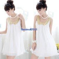 korean maternity dress - New korean Summer Maternity Dress Sequins Doll Collar Sleeveless Pregnant Women Chiffon Dress White