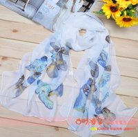 Wholesale Scarves New Style Scarf Sarongs Brisk Butterfly Pattern Scarves Chiffon Printed Scarfs Colors Best gift for girlfriend