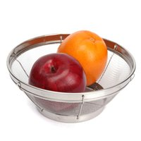 Wholesale 4 Size Stainless Steel Mesh Storage Food Basket Put Fruit Vegetable Basketry Household Kitchen Wash Plate Organizer Round