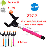 Wholesale Original Z07 in Wired Selfie Stick Handheld Extendable Monopod With Buit in Shutter For Iphone IOS Android Smart Phone