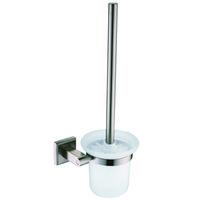 bathroom set nickel - Stainless Steel Nickel Brush Bathroom Toliet Brush Holder Glass Cup Wall Mounted