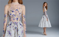 art teas - Paolo Sebastian Prom Dresses Long Sleeves Flower Embroidery Tea Length Party Evening Dress High Neck Vintage Short Homecoming Gowns
