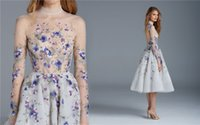 Wholesale Short Ruffled Evening Dress - Paolo Sebastian 2016 Prom Dresses Long Sleeves Flower Embroidery Tea Length Party Evening Dress High Neck Vintage Short Homecoming Gowns