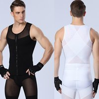 Wholesale Sexy Men s slimming Underwears body shaper fitness Vests sculpting Powernet Strong mesh Zipper Shapers Tank tops Drop Shipping