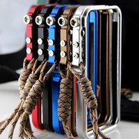 Wholesale 4th design Trigger case Premium Top Grade Metal Aluminum Bumper Case For iPhone S G with Lanyard Sling Durable Frame Cover