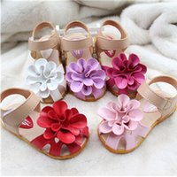 Wholesale 2015 New Sandals Children Kids Girls PU Leather Cowhells Bottom sandals Big Flower Girl Lovely Summer Shoes Size Colors K027